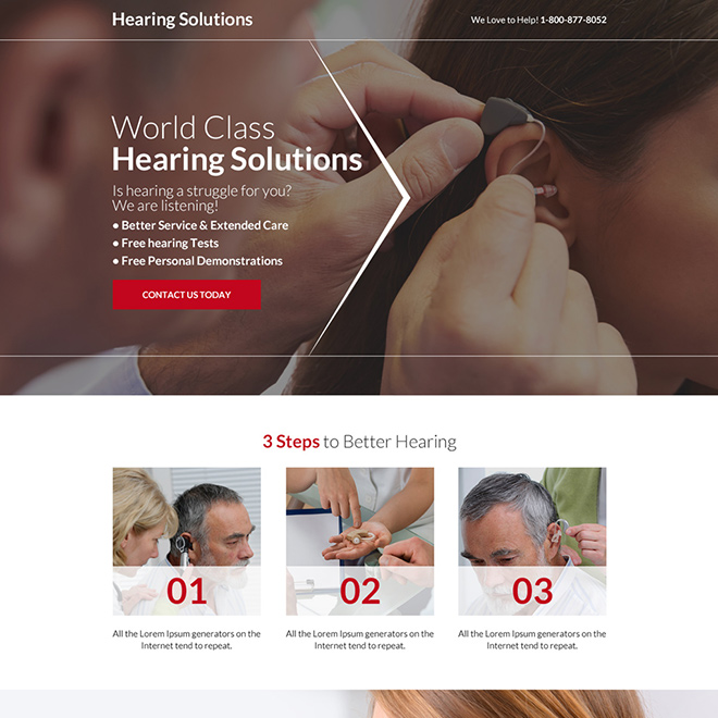 world class hearing solutions responsive landing page design Hearing Solutions example