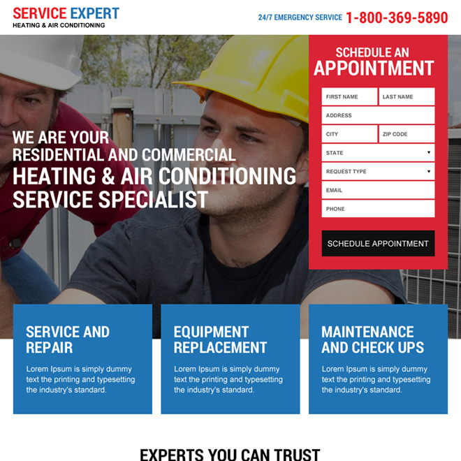 heating and air conditioning repair service responsive landing page design Appliance repair example