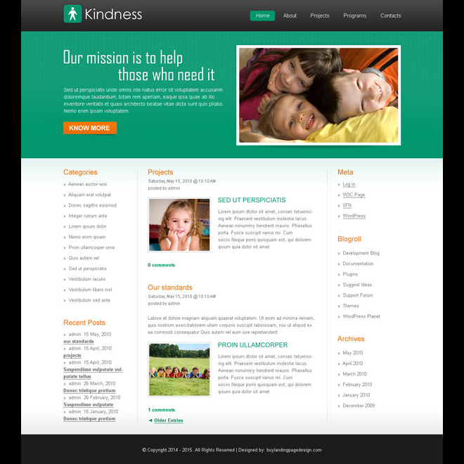 clean and modern help kids trust website template design psd Website Template PSD example