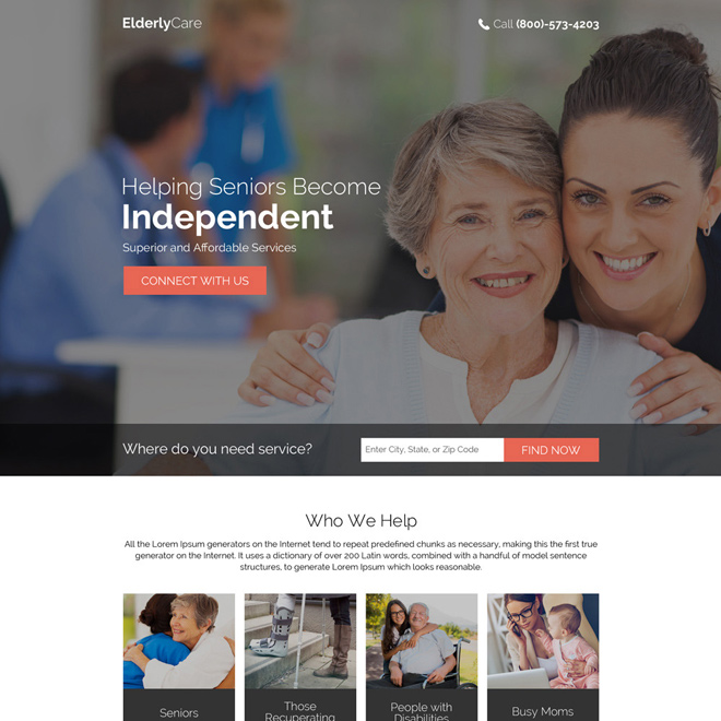 helping seniors become independent responsive landing page Elderly Care example