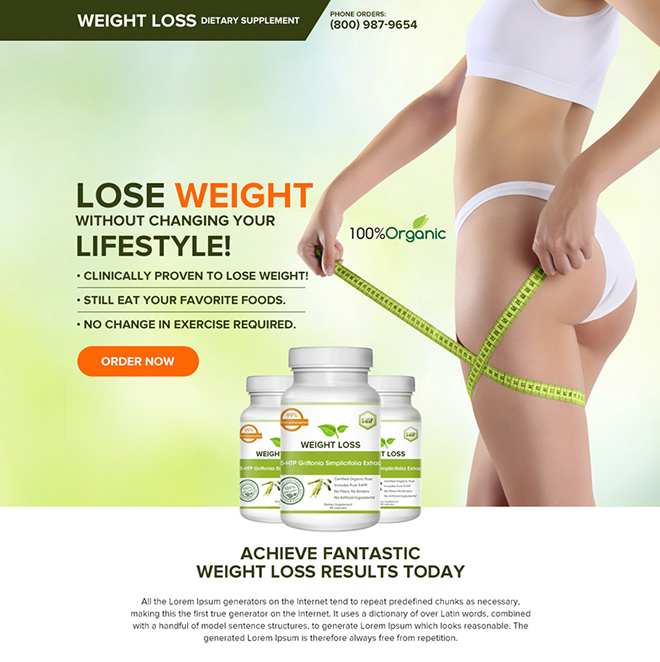 weight loss dietary supplement landing page Weight Loss example