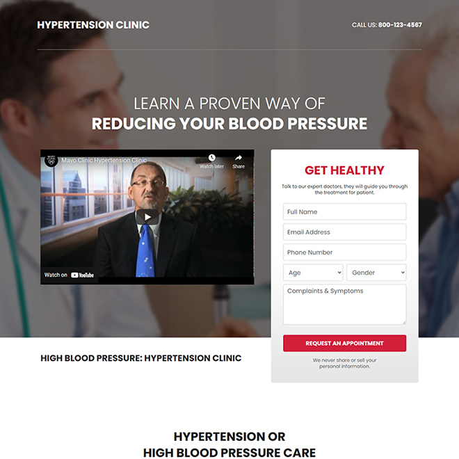 high blood pressure treatment responsive landing page design Medical example