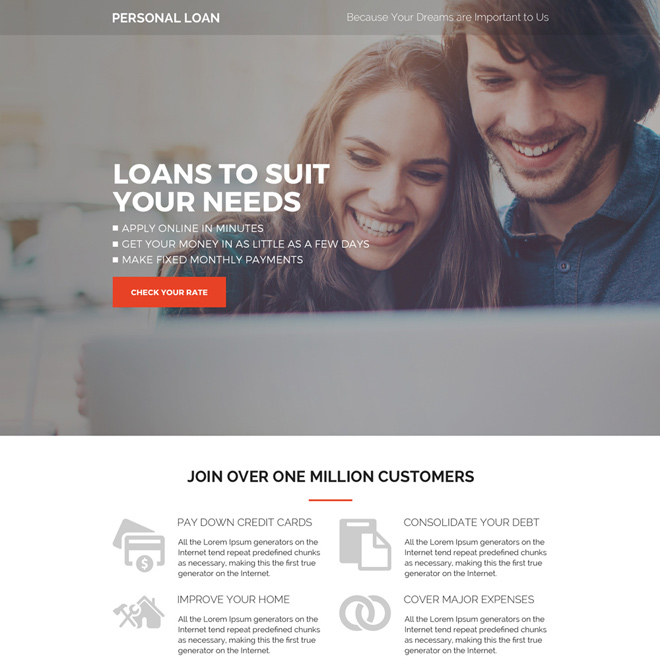 personal loans pay per click landing page design Loan example