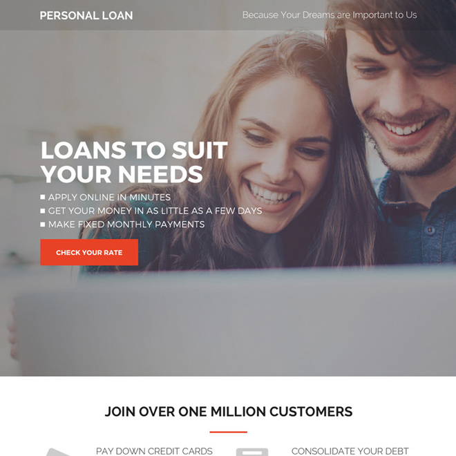 high converting personal loan responsive landing page design Loan example