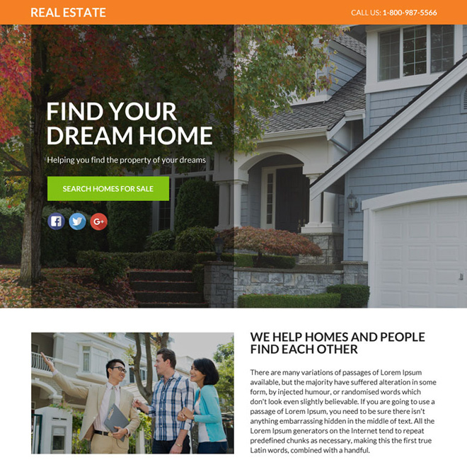 real estate lead funnel responsive landing page Real Estate example