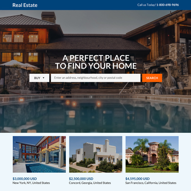 real estate search responsive landing page design Real Estate example