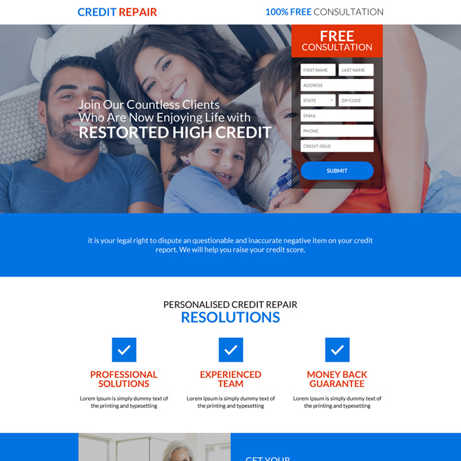 personalized credit repair consultation lead capturing landing page Credit Repair example