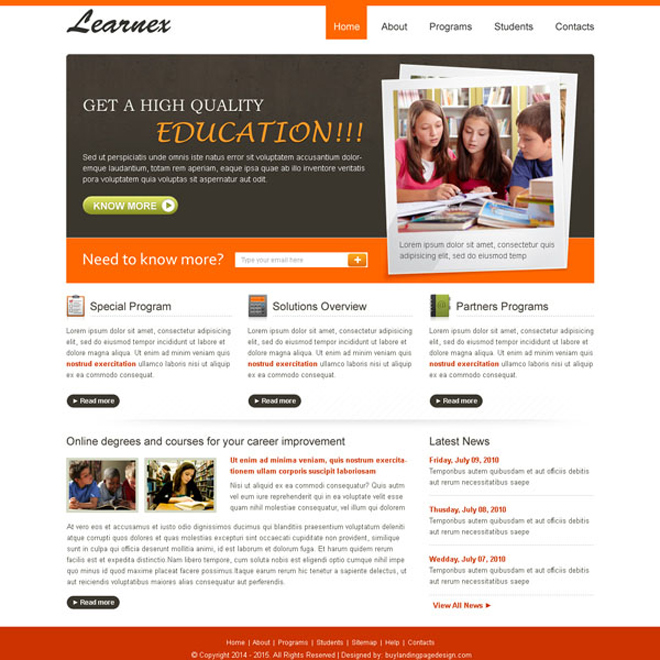 high quality and converting education website template design psd Website Template PSD example