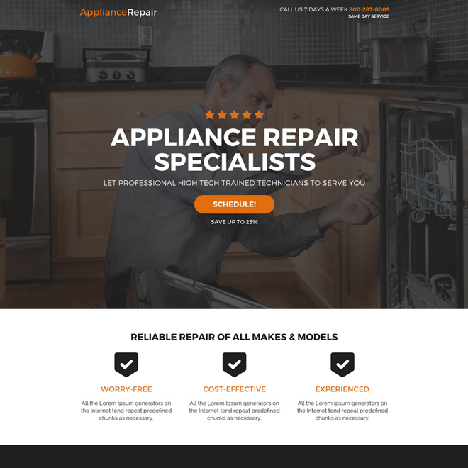 appliance repair specialist call to action landing page Appliance Repair example