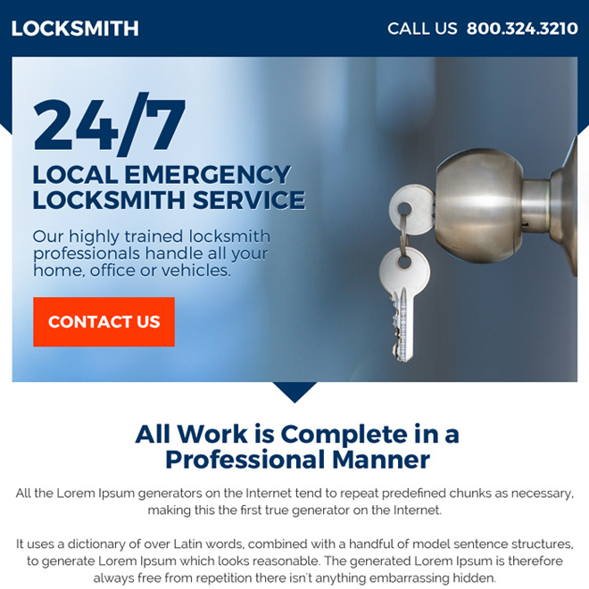highly trained locksmith professional ppv landing page Locksmith example