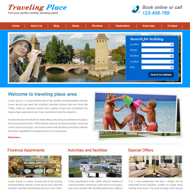 holiday travel website template design psd for sale Website Template PSD example