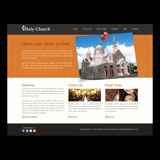 holy church clean and user friendly website template design psd Website Template PSD example
