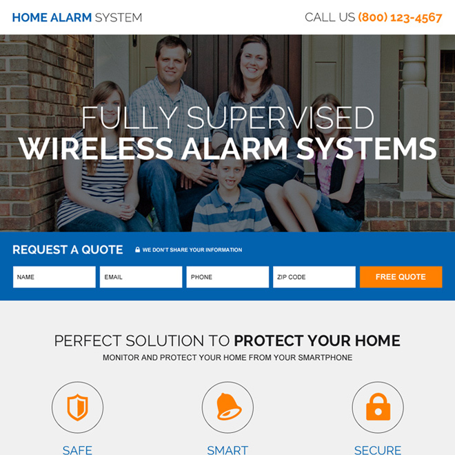 home alarm security system high quality lead capturing landing page Security example