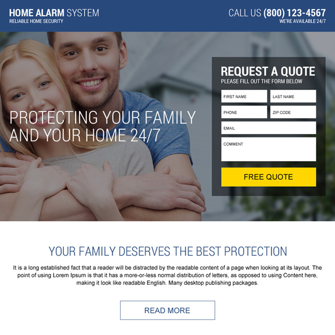 home alarm free quote lead capturing landing page Security example
