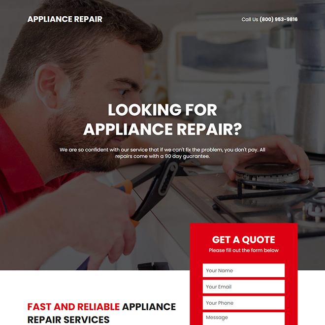 home appliance repair service responsive landing page design Appliance Repair example