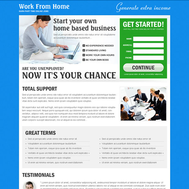 work from home based business landing page to boost your traffic and conversion rate effectively Work from Home example