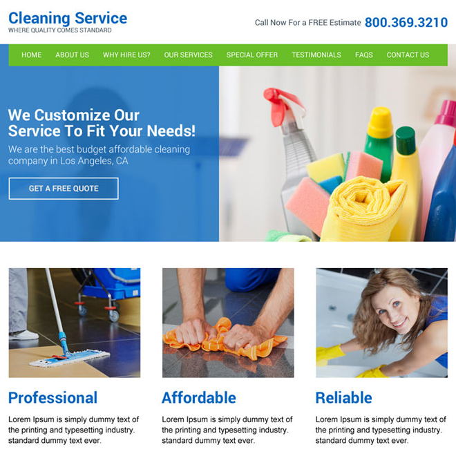 home cleaning services responsive website design Cleaning Services example