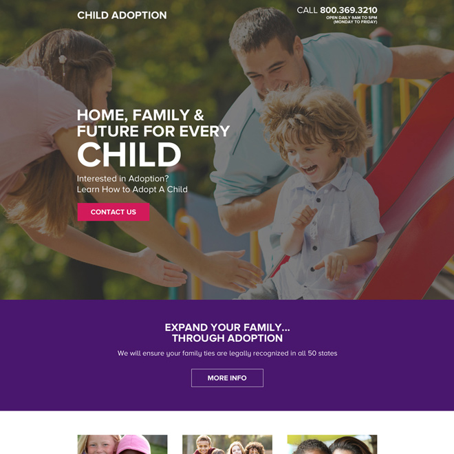 child adoption email and phone call lead capturing landing page Adoption example