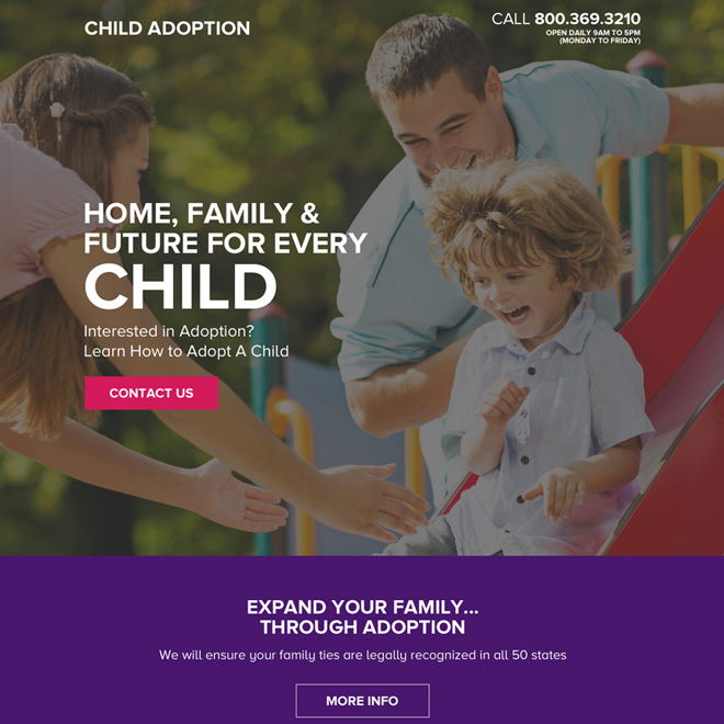 child adoption lead generating responsive landing page design Adoption example