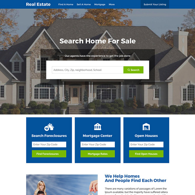 real estate foreclosure and listings responsive website design Real Estate example