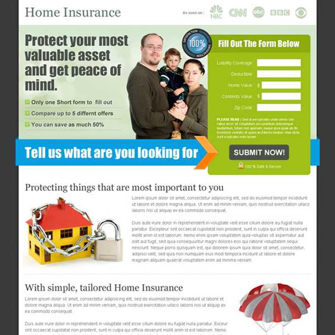home insurance business lead capture squeeze page design Home Insurance example