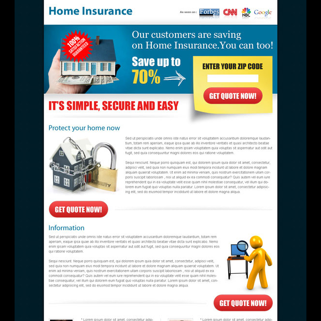 effective home insurance zip capture landing page Home Insurance example