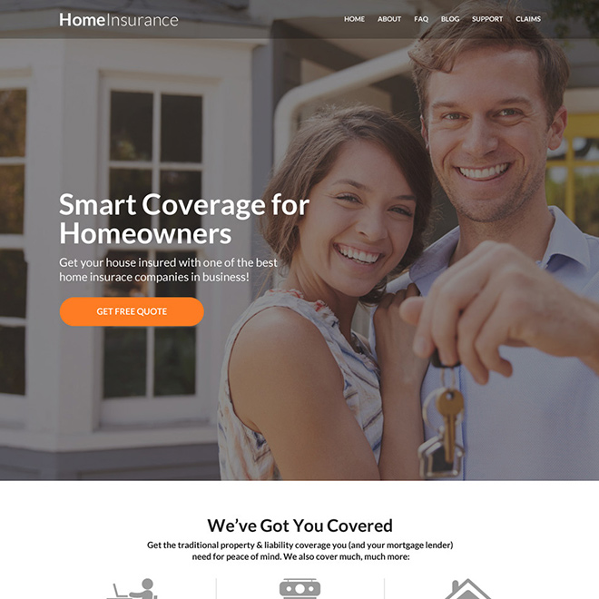 responsive homeowners insurance website design Home Insurance example