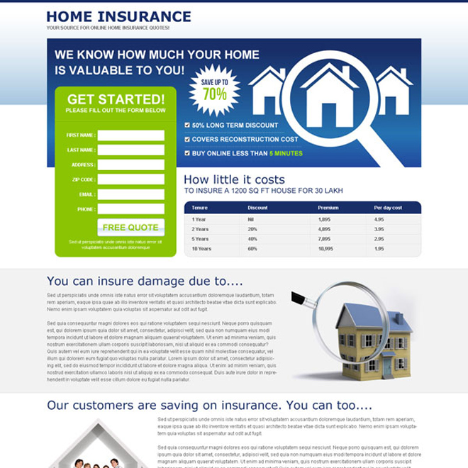 minimal home insurance fast and free quote lead gen splash page Home Insurance example