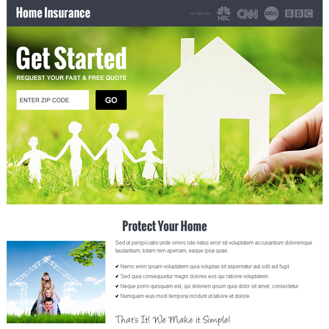 home insurance by zip code responsive landing page design Home Insurance example