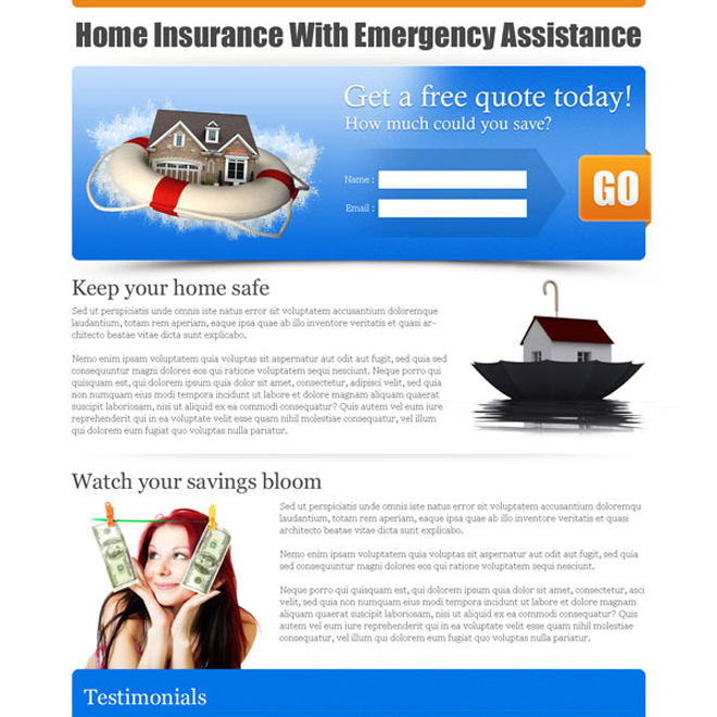 home insurance with emergency assistance lead capture page Home Insurance example