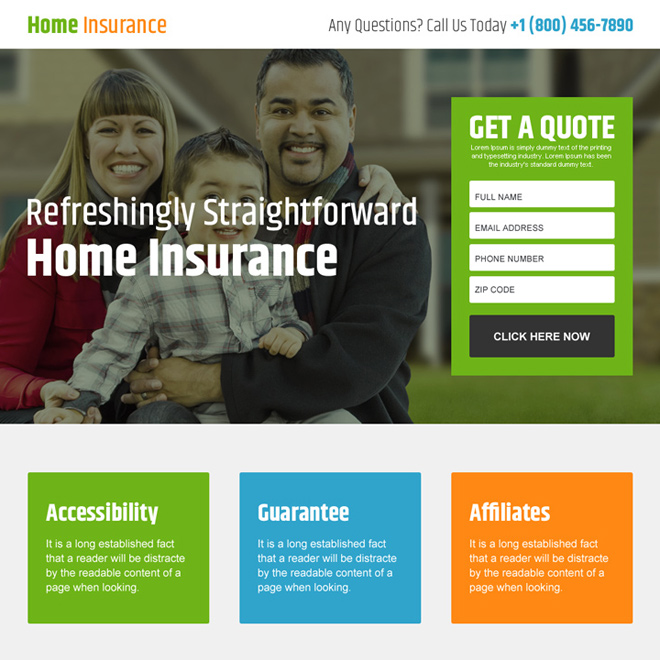 home insurance free quote lead capturing landing page design Home Insurance example