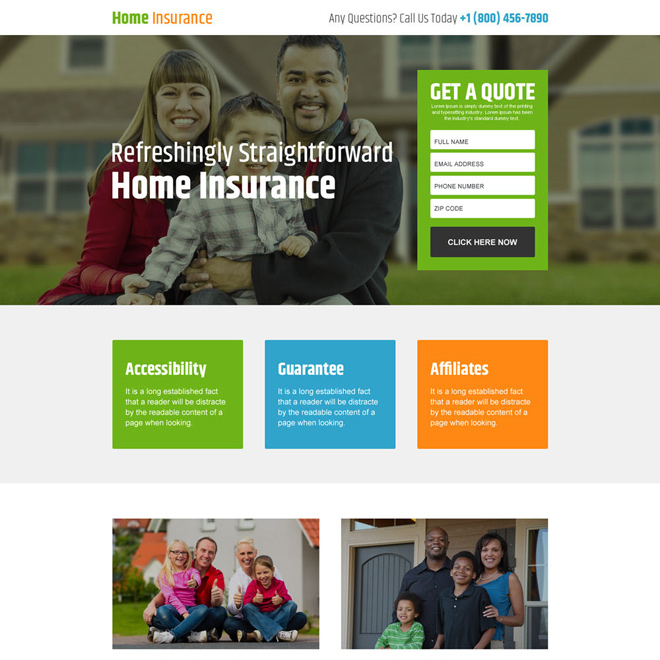 responsive home insurance free quote lead generating landing page Home Insurance example