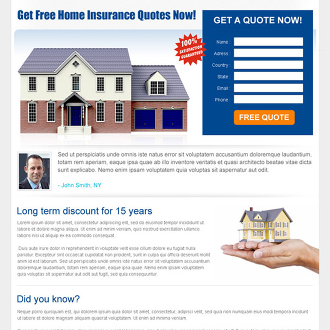 home insurance quote lead capture landing page design template Home Insurance example