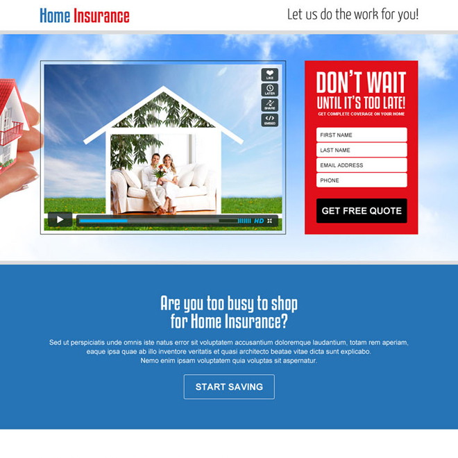 home insurance lead generating video landing page design template Home Insurance example