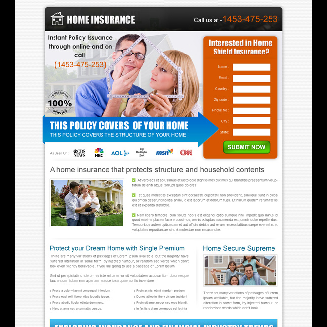 clean and converting home insurance policy lead capture landing page design Home Insurance example