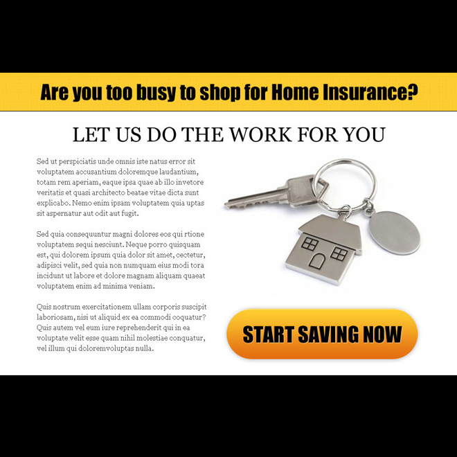 home insurance clean call to action ppv landing page design template Home Insurance example