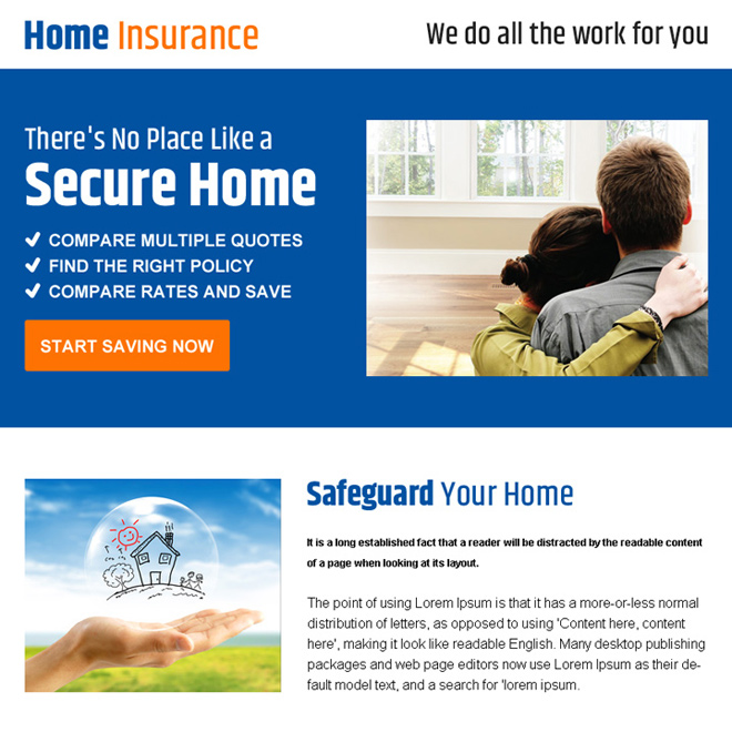 home insurance minimal ppv landing page design Home Insurance example