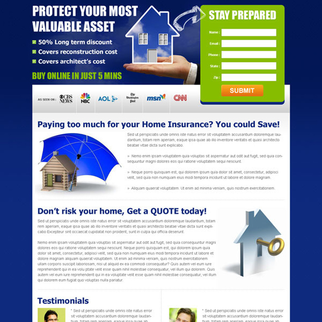clean lead gen landing page for your home insurance business Home Insurance example