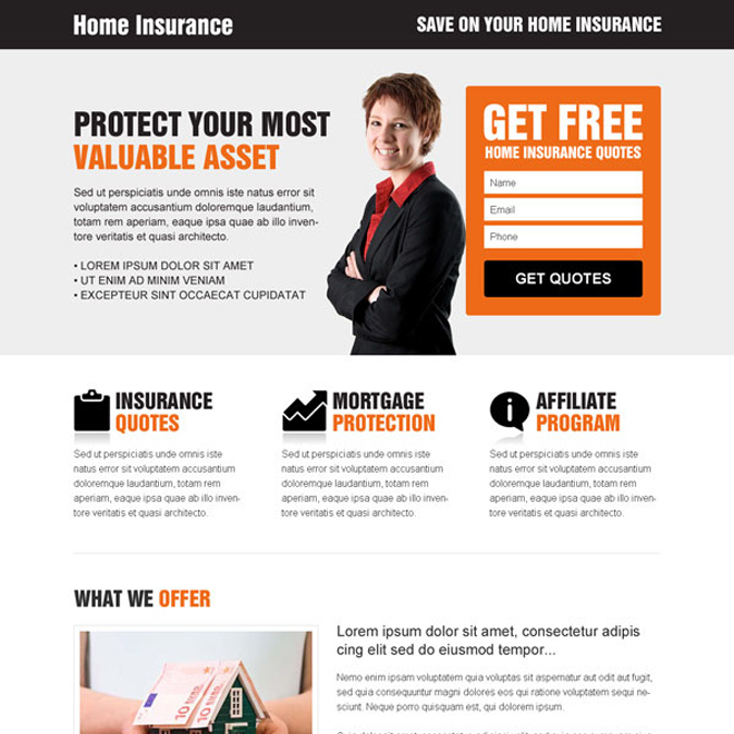 home insurance clean and most converting responsive lead capture landing page design template Home Insurance example