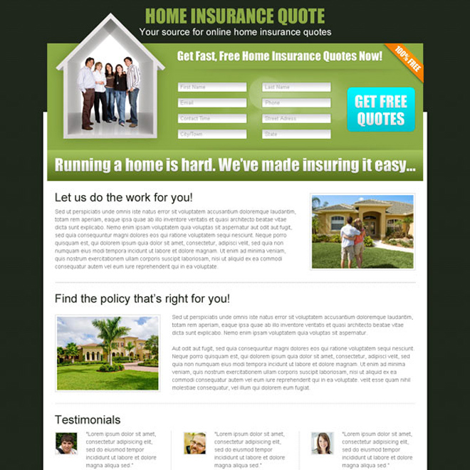 home insurance long lead capture landing page design for sale Home Insurance example