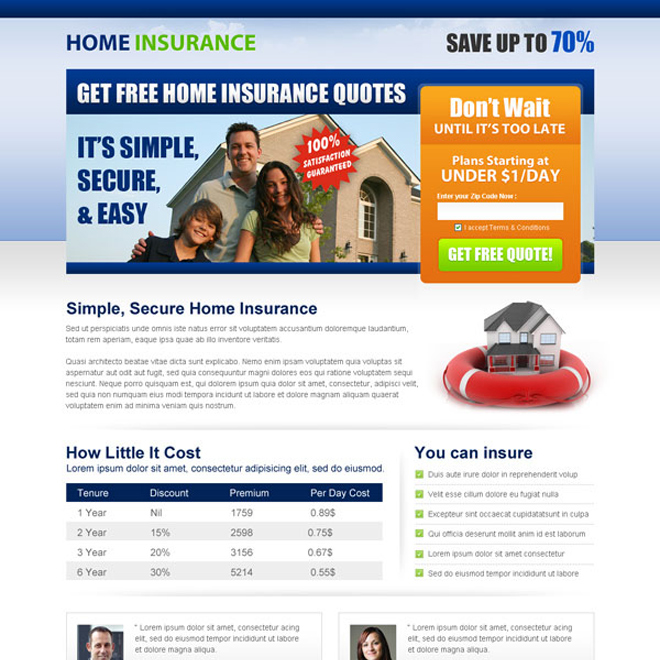 get home insurance free quote lead capture squeeze page Home Insurance example