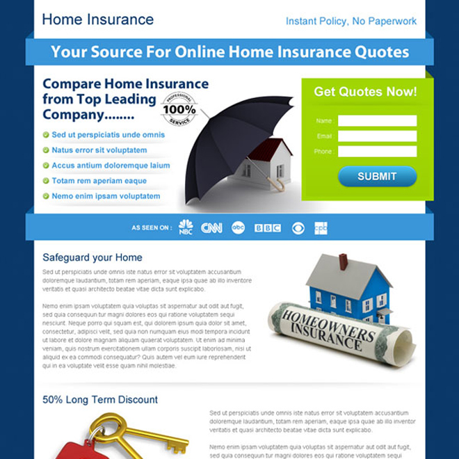 clean online home insurance quotes lander design Home Insurance example