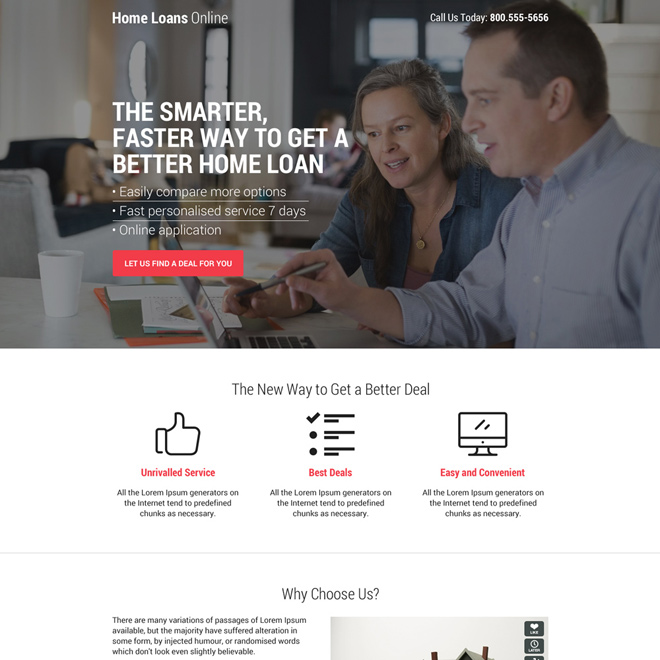 home loan deal minimal call to action landing page design Home Loan example