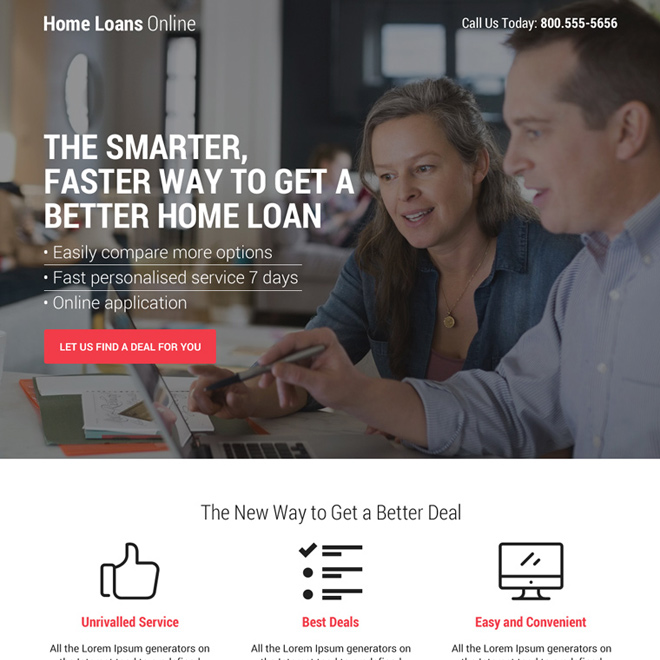 home loan mini responsive landing page design Home Loan example