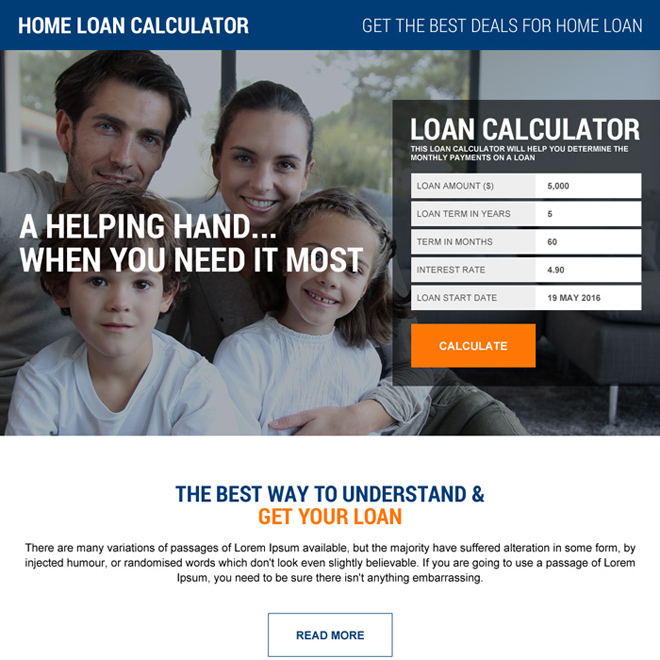 home loan emi calculating landing page design Home Loan example