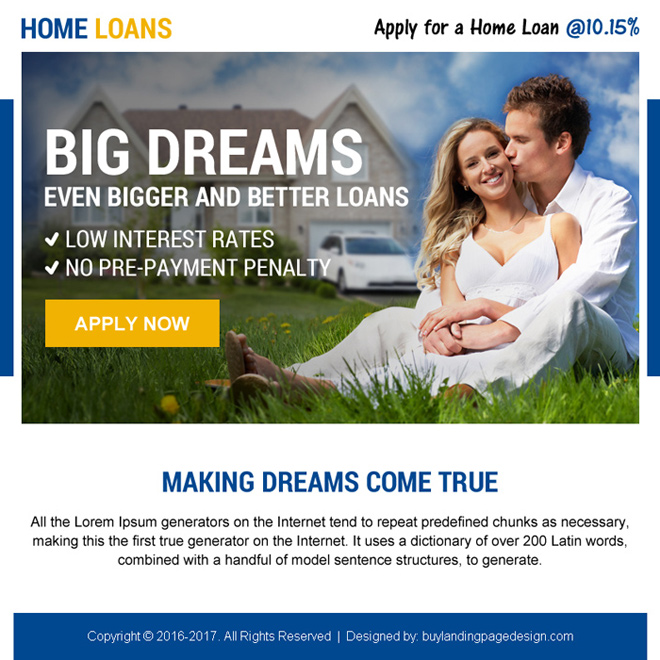 home loan converting ppv landing page design Home Loan example
