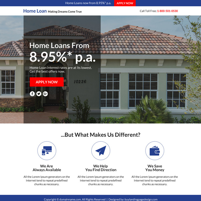 home loan marketing sales funnel responsive landing page Home Loan example