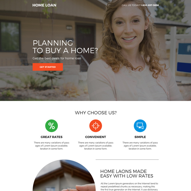 minimal home loan call to action mini landing page Home Loan example