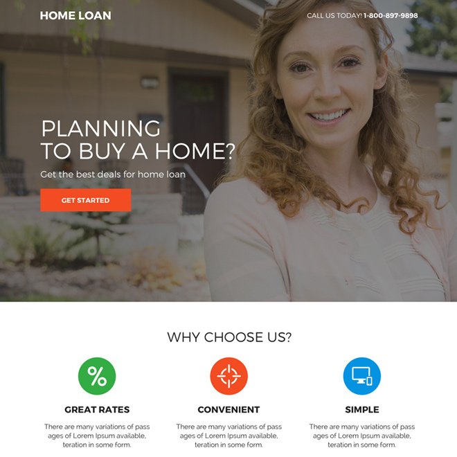 home loan responsive mini landing page design Home Loan example