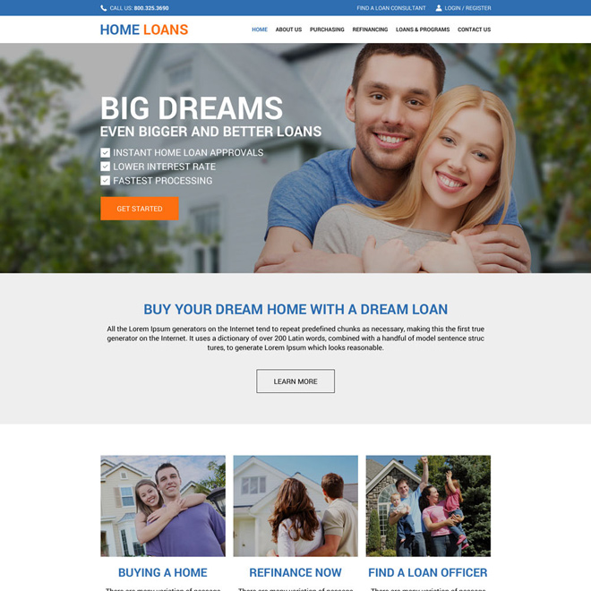 professional home loan responsive website design Home loan example